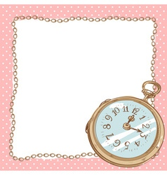 Lovely romantic postcard with ancient pocket watch vector image