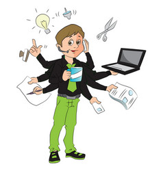 man multitasking in the office vector image vector image