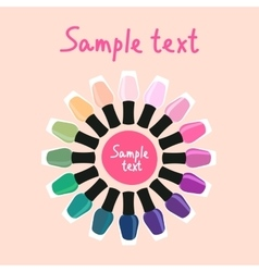 Multicolored nail lacquers in a circle 2 vector image vector image