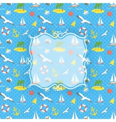 Nautical Icons background with blurred label vector image vector image
