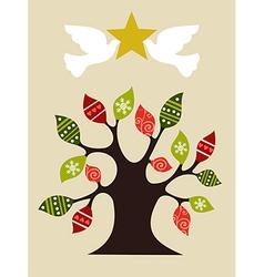 Peace and love christmas tree design idea vector