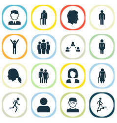 People icons set collection of ladder vector