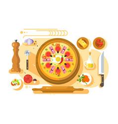 Pizza cooking design flat vector