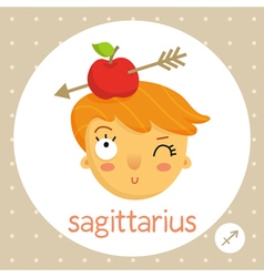Sagittarius zodiac sign girl with apple on head vector image