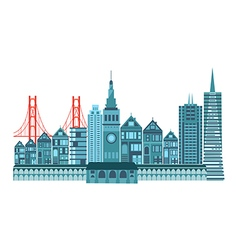 San francisco travel icons colorful retro vector