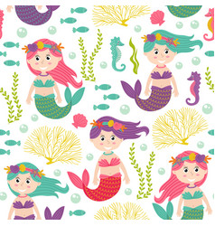 Seamless pattern with mermaid under the sea vector