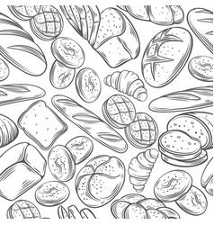 Sketch bread seamless pattern vector