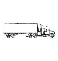 Truck cabin container transport business sketch vector