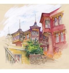 Watercolor autumn city street vector image