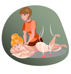 Woman having a massage in a spa vector