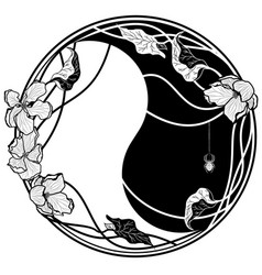 yin yang witn apple flowers vector image vector image