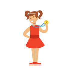 Young girl un a red dress with a first place medal vector