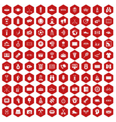 100 sport journalist icons hexagon red vector