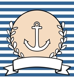 Nautical card or invitation with anchor vector image