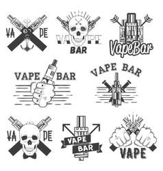 Monochrome set of vape bar stickers vector