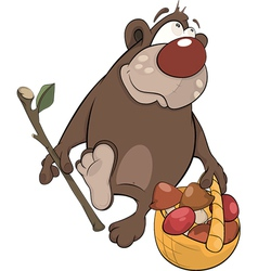 Bear with a basket with mushrooms vector