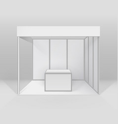 Blank trade exhibition booth stand with counter vector