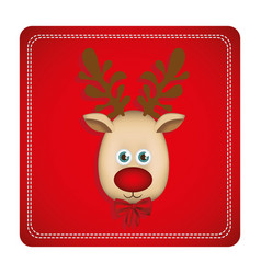 Colorful square frame with christmas reindeer face vector