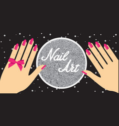 nail artwoman hand with red fingernails gift vector image