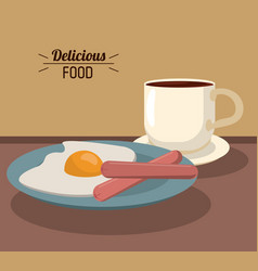 Delicious food breakfast with fries egg sausages vector