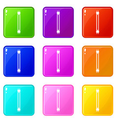 Fluorescence lamp icons 9 set vector