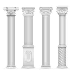 Realistic white antique roman column set vector