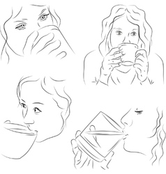 Women with cups vector image