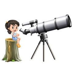 Little girl looking through telescope vector