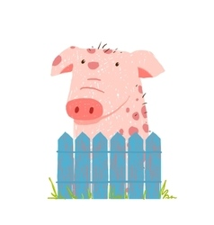 Funny cartoon pig sitting over fence vector