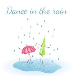 Umbrella dancing in the rain vector