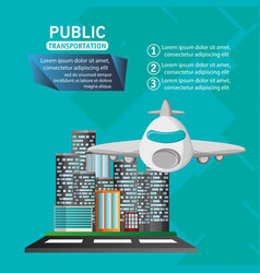 Airplane passenger flying urban background vector