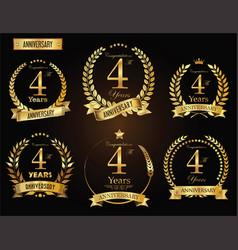 anniversary golden laurel wreath 4 years vector image