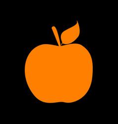 Apple sign orange icon on black vector