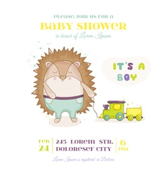 Baby shower or arrival card - baby hedgehog vector