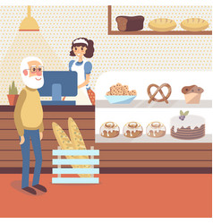 Bakery shop interior with girl character in apron vector