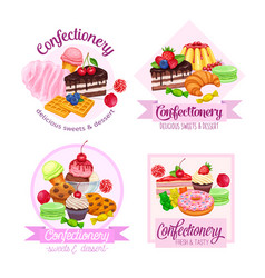 Banner or label with confectionery and sweets vector