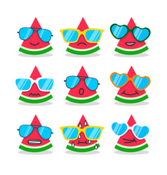 Cartoon watermelon emojis with emotion vector