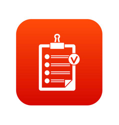Check list icon digital red vector