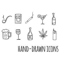 Cigarette and alcohol hand drawn icons vector
