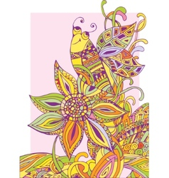 Colorful background a flower and a bee vector image vector image
