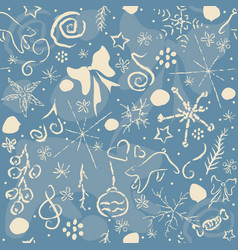 Cute pattern with abstract stars doodles snow vector