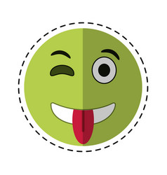 Eyewink and tongue emoticon style cut line vector