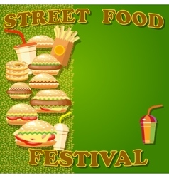 Fast food poster with hamburger potato fries hot vector