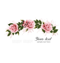 Flower frame with beauty pink roses vector image vector image