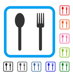 fork and spoon framed icon vector image