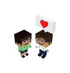 geek couple lover in romance love vector image vector image