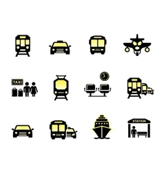glossy transport icons vector image vector image
