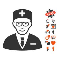 Head physician icon with lovely bonus vector