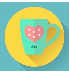 Hot coffee or tea cup flat icon with pink heart vector image
