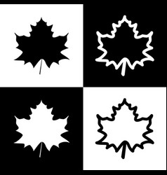 Maple leaf sign black and white icons and vector